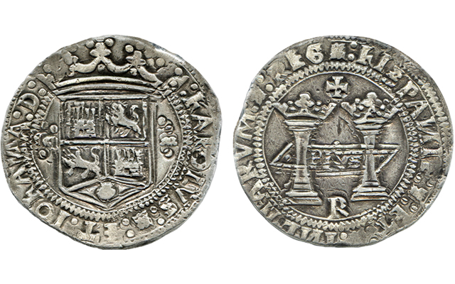 One of the three known examples of the earliest silver dollar struck in the Americas, an undated (1538) 8-real coin of Mexico City highlights Daniel Frank Sedwick LLC's Nov. 6 auction. It is estimated at $500,000 to $1 million.