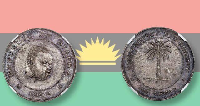 Image result for images of  silver coin from Biafra