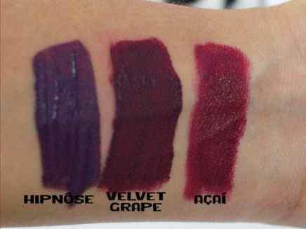 Batons Evelyn Regly líquidos Velvet Grape comparação