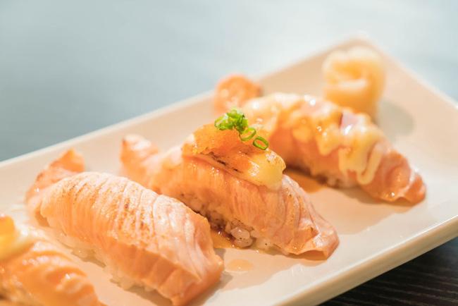 Salmon Nigiri with Assorted Toppings