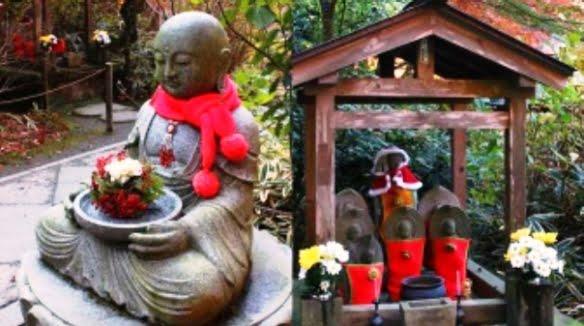Jizo com decoração natalina