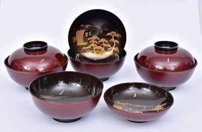 tigelas em laca japonesa