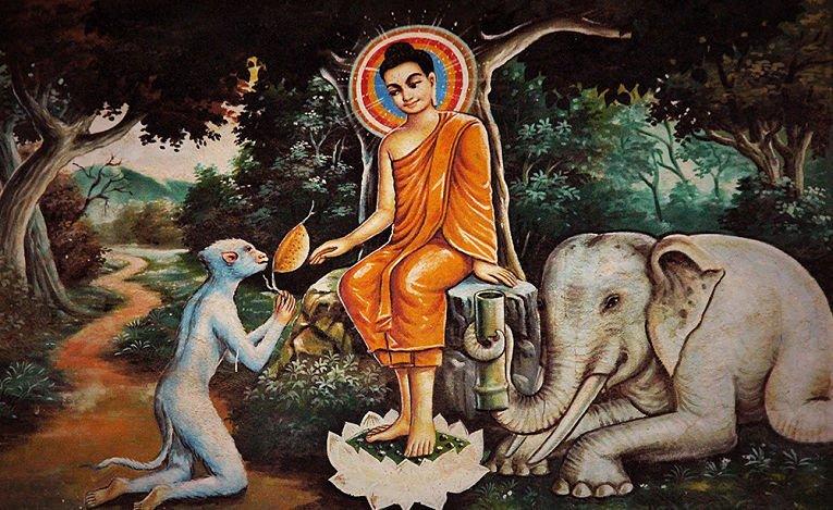 Ilustração budista com animais