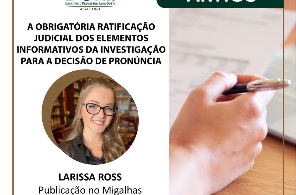Publicação de Larissa Ross no Migalhas