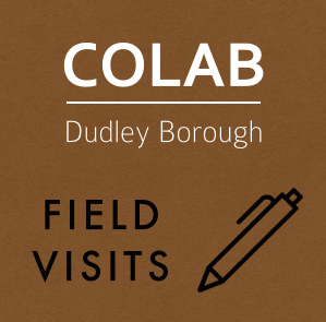 "Logo which says 'CoLab Dudley Borough"" and ""Field Visits"" with an icon of a pen"