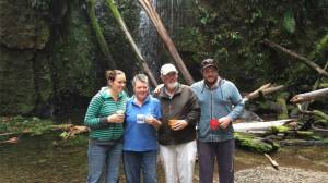 Apollo Bay's Sue McKenzie, second from left, walked to closed tourist attraction Marriner's Falls on the closed track with her daughter Melinda, husband Brian and son Alistair. Mrs McKenzie will protest on Thursday for Parks Victoria to reopen the track to the waterfall.