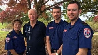 Cobden man Peter Harris, second from left, thanked Ambulance Victoria community officer Julie Plummer, advanced life support paramedic Patrick McNamara and MICA paramedic Heath Butler for helping to save his life in February. A new thrombolytic drug also helped save his life.