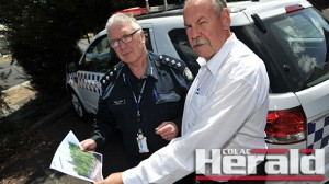 Inspector Peter Seel and Detective Chris Potter discuss the discovery of 50 cannabis plants in Colac district.