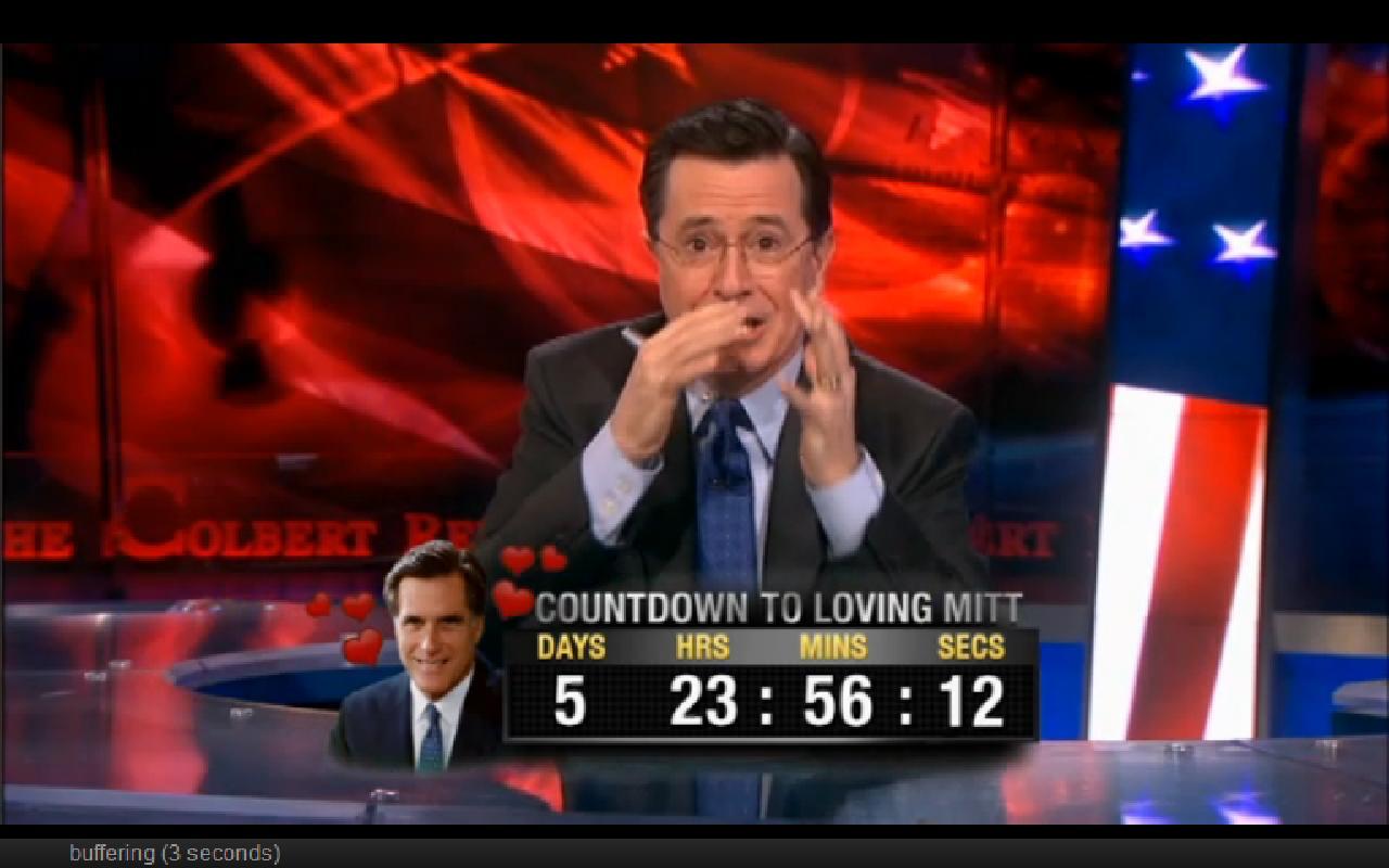 Stephen's scared of Mitt