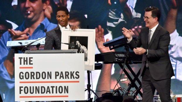 Jon Batiste and Stephen Colbert at the Gordon Parks Foundation