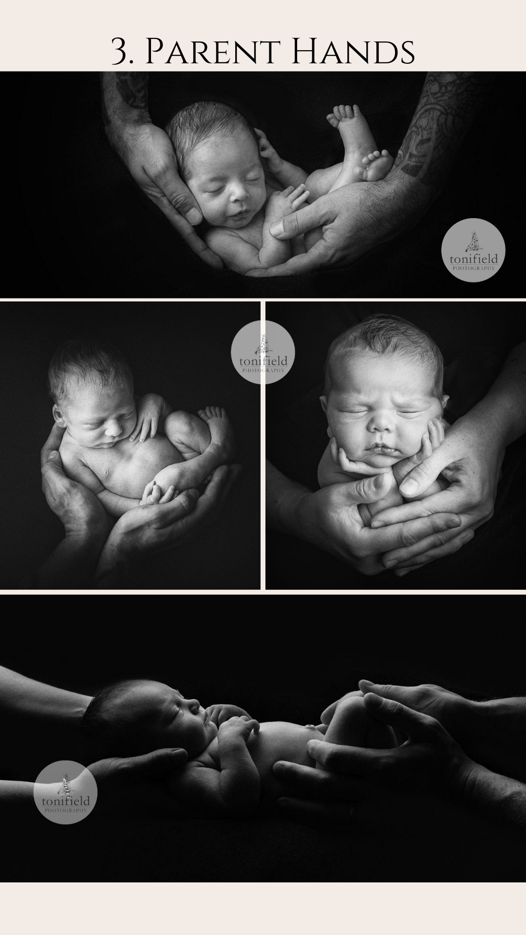 baby poses in parents hands