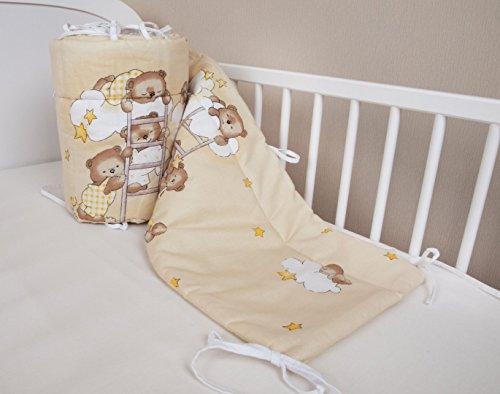 Protector de cabeza para cuna, 420x 30cm, 360x 30cm, 180 x 30cm, protector para bordes de cuna, diseño de oso, color beige Talla:180x30cm
