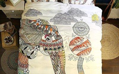 Funda De Edredón, Morbuy 3PC Moda 3D Elefante Bohemio Boho 200 x 230 cm Ropa de Cama 100% Poliéster Suave De Microfibra Cremallera Funda De Almohada Edredón De Cama Conjunto De Edredón Cubierta (Elefantes jugando)
