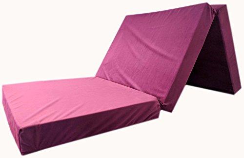 Colchón plegable tamaño XXL con aspecto de terciopelo, cama auxiliar para invitados, dimensiones: 195x 80x 10cm , morado, 195 x 80 x 10 cm