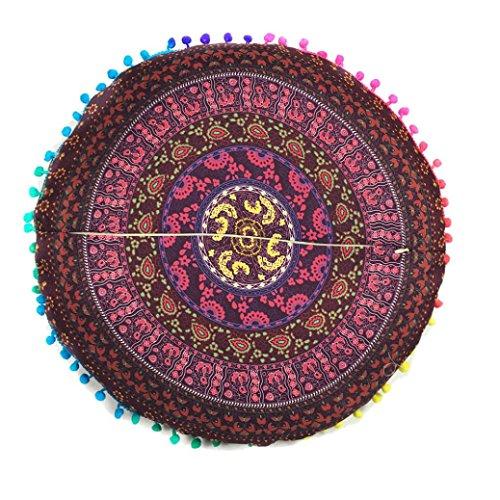 Funda de almohada redonda bohemia,Subfamily®Indian Mandala Floor ...