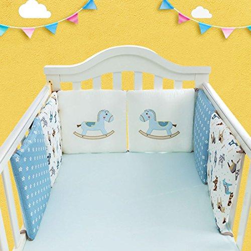 Freahap 6pcs Bebé Juego de ropa de cama Cuna bebé berenjena,Regular seguridad parachoques diseño Impresiones de animales algodón Cada pieza 30 * 30cm Azul