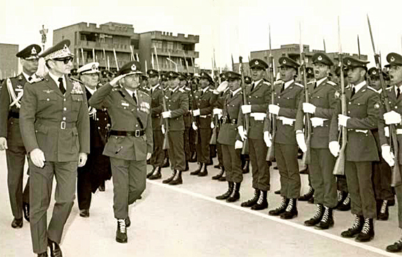 Shah of Iran inspecting Imperial Iranian Troops 1970s