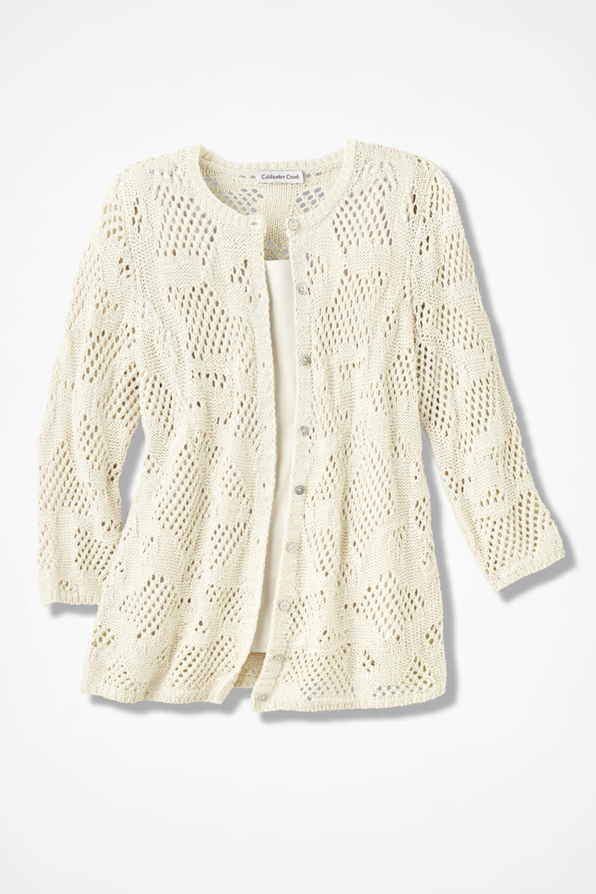 Mixed Stitch Pointelle Cardigan Coldwater Creek