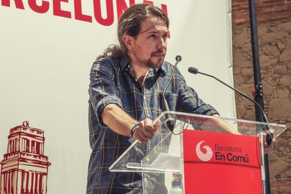 Pablo Iglesias serio por Marc Lozano para Barcelona en Comu