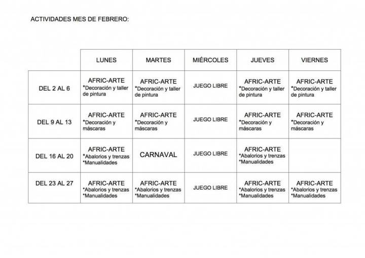 ACTIVIDADES MES DE FEBRERO