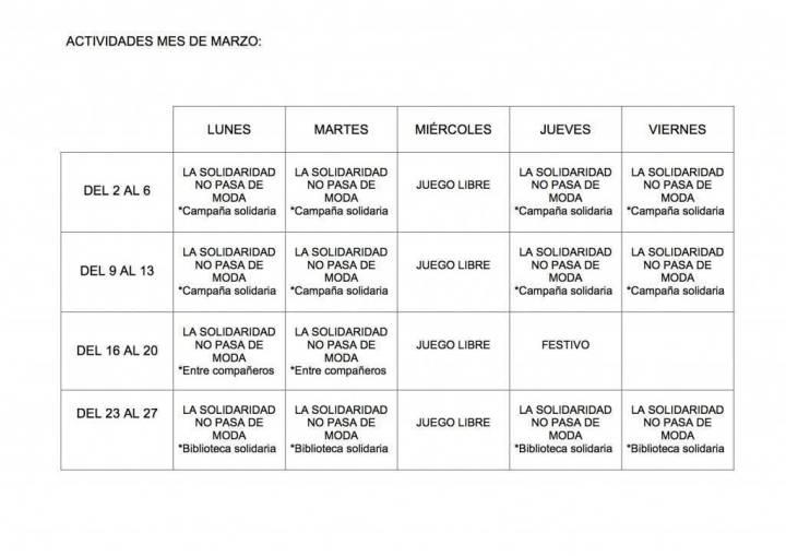 ACTIVIDADES MES DE MARZO