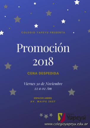 Cena Despedida Promoción 2018