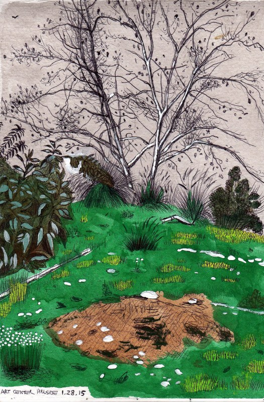 Hillside 2014 ink and gouache on paper 8x5 inches