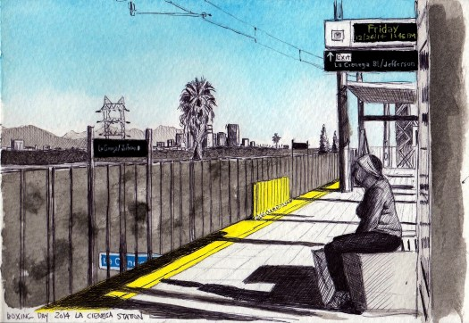 La Cienega Station 2014 ink and gouache on paper 5x8 inches