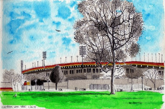 Coliseum 2014 ink and gouache on paper 8x5 inches