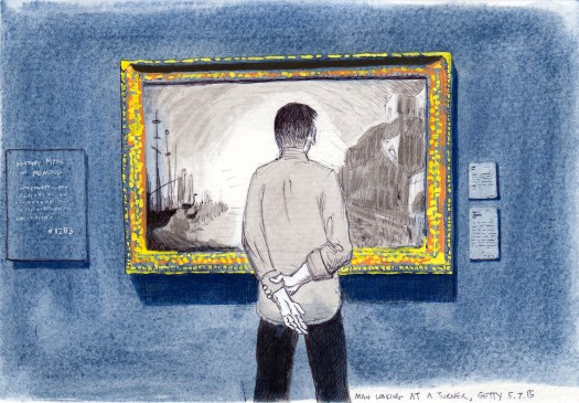 Man Looking At A Turner, May 7, 2015 2015 Ink and gouache on paper 5x8 inches
