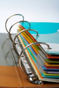 Binder closeup with files stacked