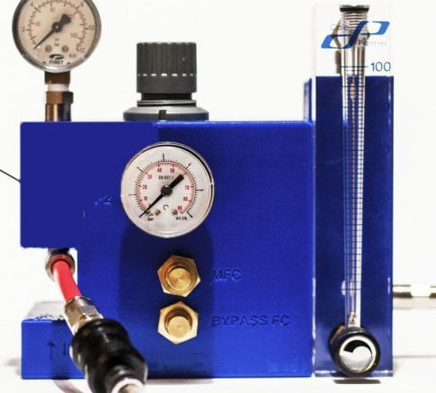Cole-Parmer acrylic flowmeter shown in a custom PCU from Jet-X Engineering.