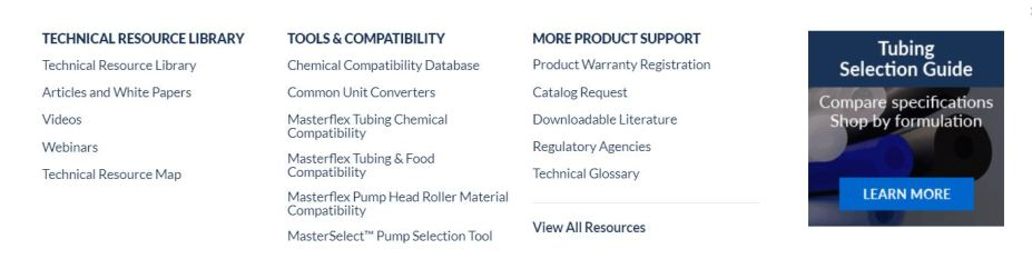 Masterflex website product support area