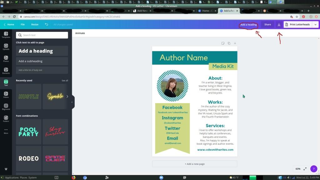 Free Author's Media Kit | Step 6