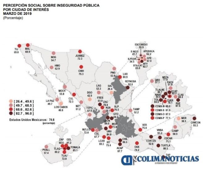 Image result for percepción de inseguridad en México, disminuyó: INEGI