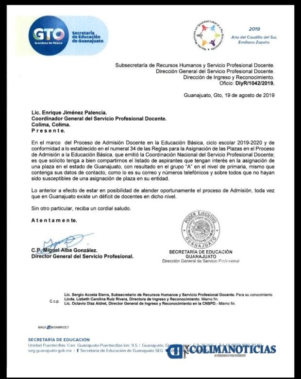 oficio plazas SE - Secretaría de Educación de Guanajuato se echa para atrás para ofertar mil 200 plazas a Colima