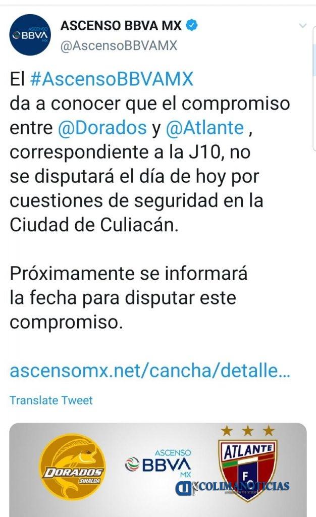 suspenden partido  626x1024 - Balaceras en Culiacán obligan a suspender partido Dorados contra Atlante