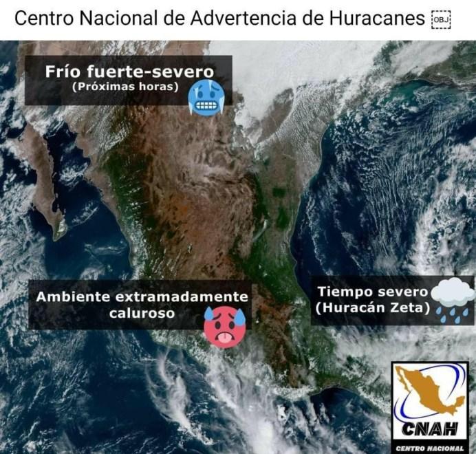 tres condiciones climatologicas en mexico