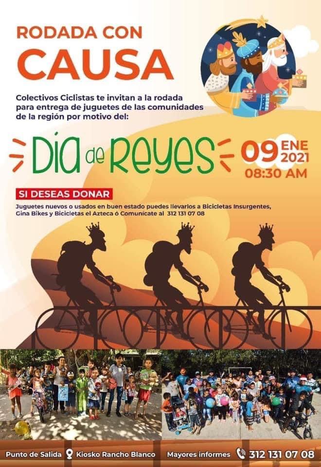 Ciclistas colimenses realizarán rodada para entregar juguetes a la niñez de comunidad Cruz de Piedra