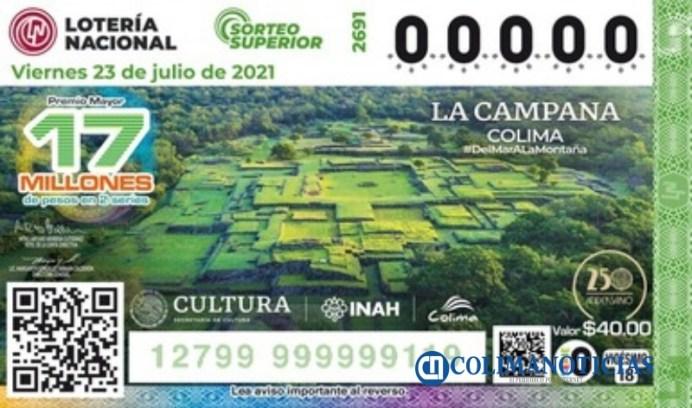Billete de lotería plasma la belleza arqueológica colimense de La Campana