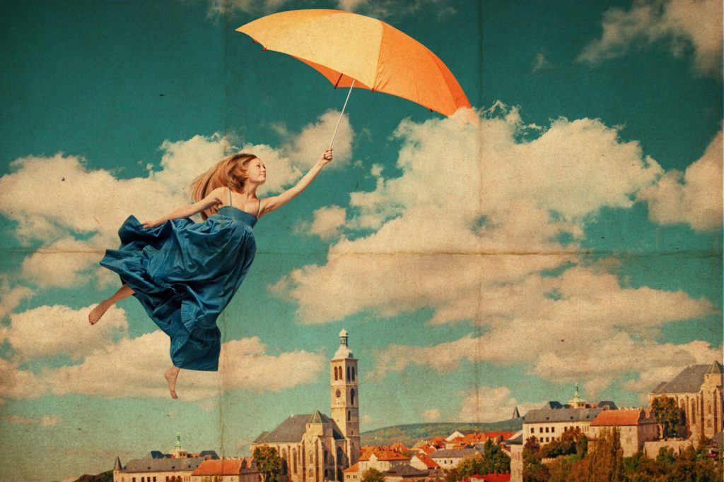 Art,Collage,With,Flying,Woman,,Vintage,Image