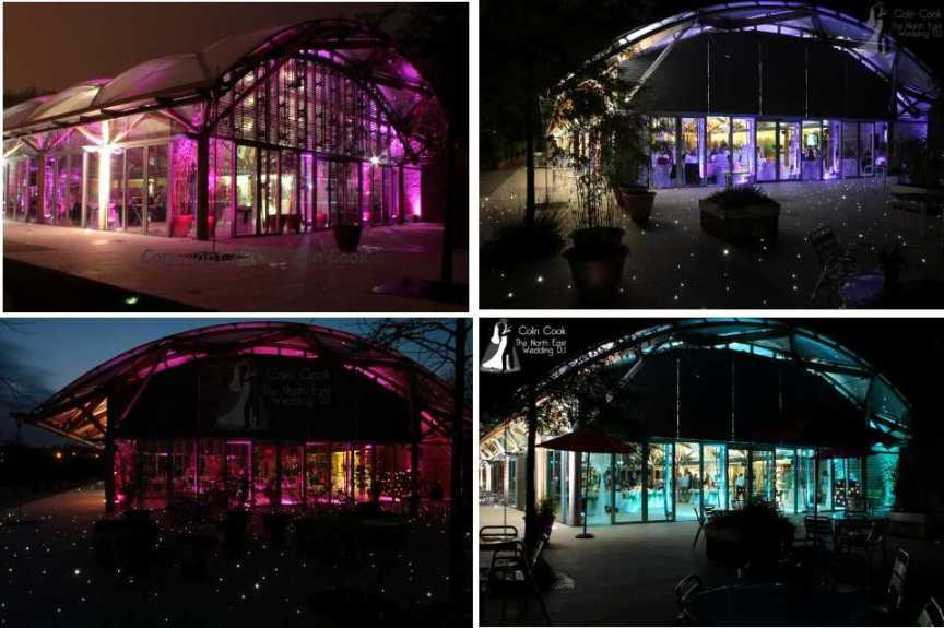 Uplighting transforms the Pavilion at Alnwick Garden to make your Wedding really special