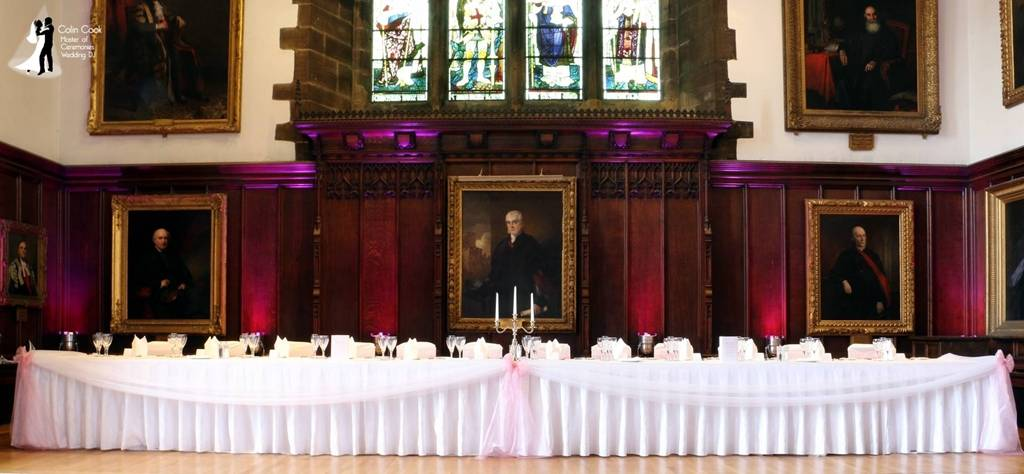 Durham Castle Wedding Top Table set and room Uplit in a gorgeous pink.
