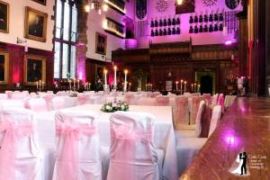 The Great Hall at Durham Castle with Pink Lighting ready for another great Wedding Reception