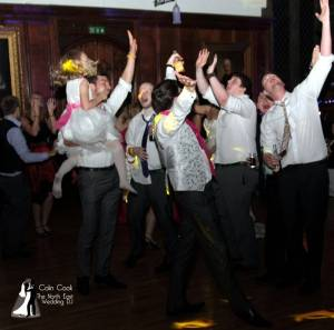 Guests enjoying the Disco at a Durham Castle Wedding