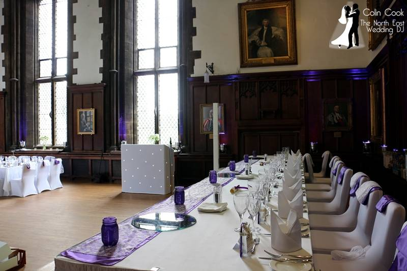 Neat, discreet equipment, atmospheric lighting, great music and a Master of Ceremonies who goes all out to make your Durham Castle Wedding unique, fun and memorable