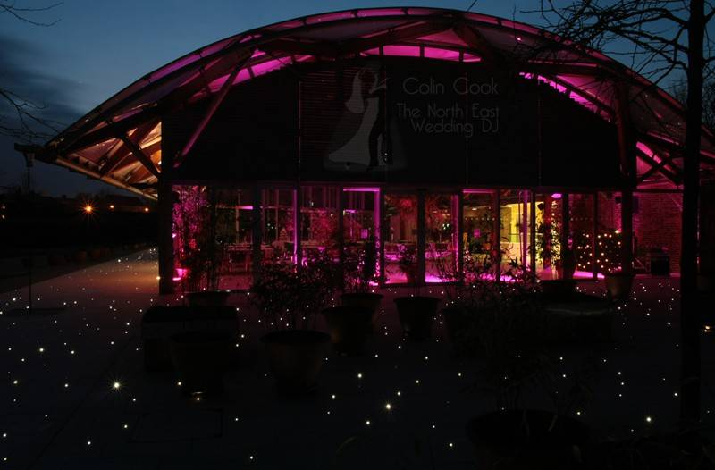 Alnwick Garden Pavilion Wedding Moodlighting and Uplighting in Pink