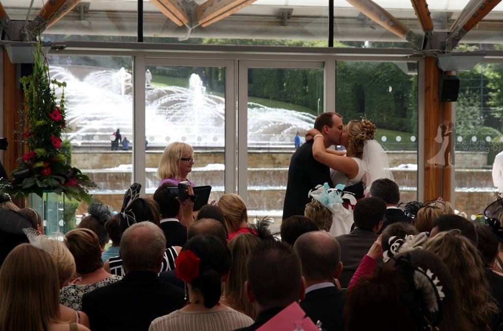 The Grand Cascade helped Celebrate Helen & Michaels amazing English/Danish Wedding. The Kiss says it all - the Perfect Wedding Ceremony at Alnwick Gardens