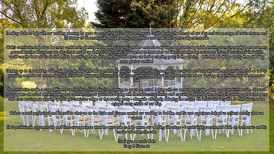 Crook Hall Wedding Testimonial