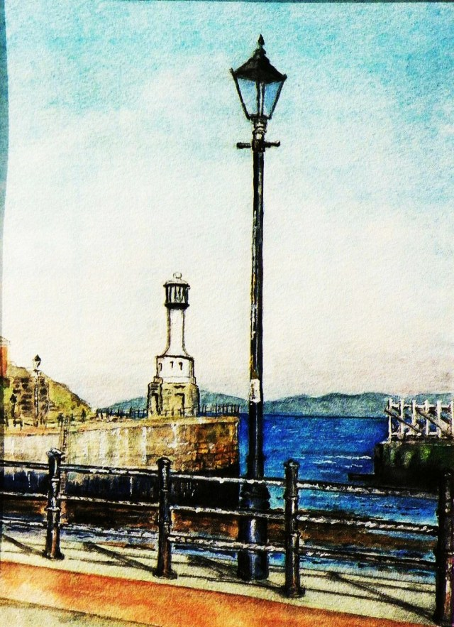 Lighthouse & lampost, Solway Firth (Maryport)